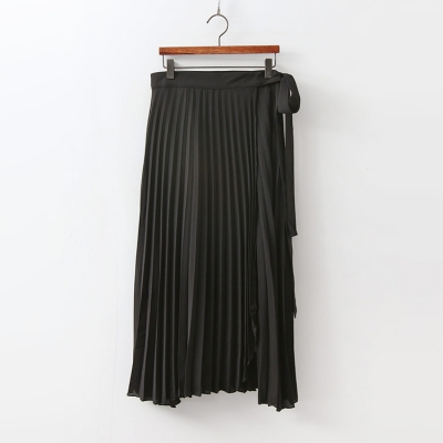 Pleats Wrap Long Skirt 여성 캐주얼 스커트