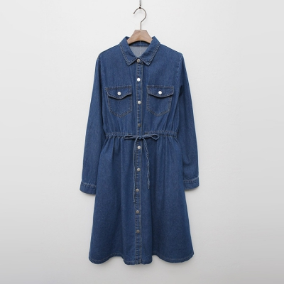 Autumn Denim Shirts Dress 여성 캐주얼 스커트 치마