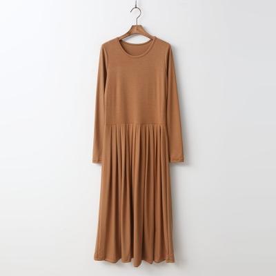 Easy Pleated Long Dress 여성 캐주얼 스커트 치마 - 긴팔