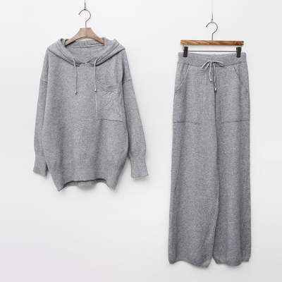 [Set] Boston Hood Knit + Knit Wide Pants