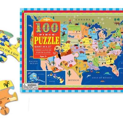 이부 미국지도 100피스 퍼즐 (5세 이상, 빅사이즈피스, 완성 47X69cm)
