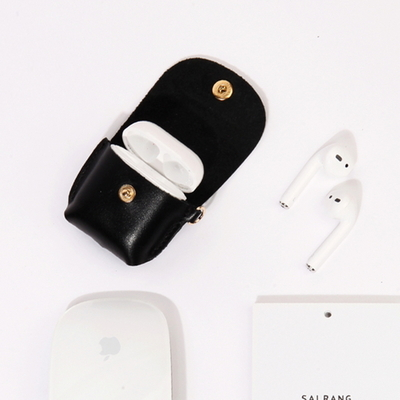 Button Shoulder AirPods Leather Case Mellow Rose