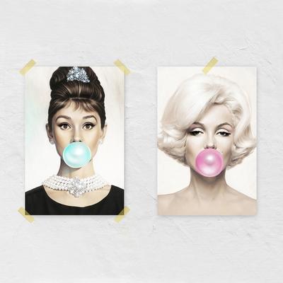 팝아트 풍선 포스터 오드리햅번 마릴린 먼로