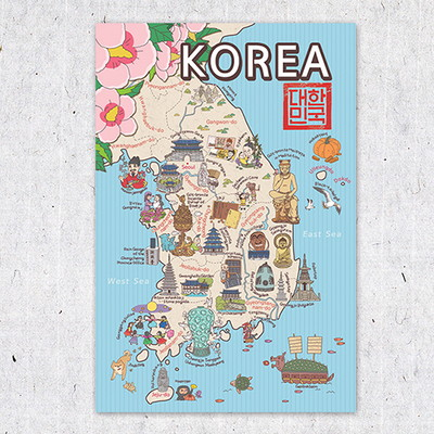 한국사랑 지도엽서 - 영문