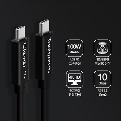 클레버 타키온코어PD USB 3.1 Gen2 C타입 100W 고속충전케이블