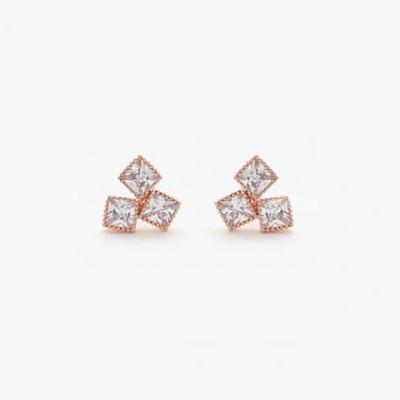 제이로렌 M0983 THREE SQUARE 3개의 사각 큐빅 귀걸이