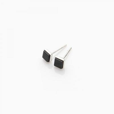 제이로렌 M0986 BLACK BEAN 네모 동그라미 오닉스 데일리 귀걸이