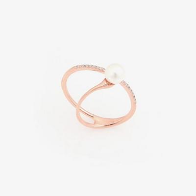 제이로렌 R0291 언발란스 큐빅라인 로즈골드 진주 반지