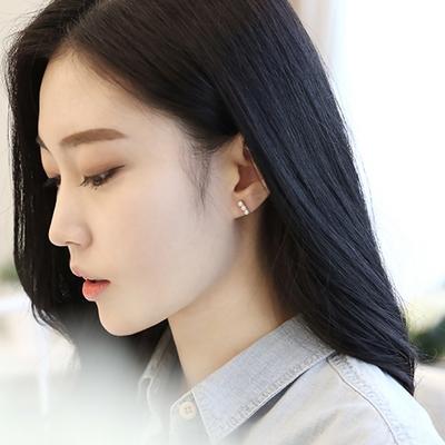 제이로렌 M01383 일자바 쓰리 담수진주 실버 (순은 925) 귀걸이