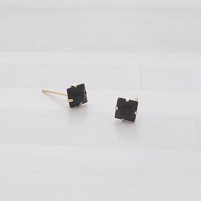 제이로렌 G0111 미니멀 사각 블랙 크리스탈 10K 귀걸이