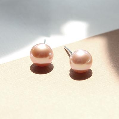 제이로렌 M01399 천연 담수진주 기본 로잘린 피치 데일리 진주 순은 귀걸이