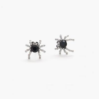 제이로렌 M01464 블랙큐빅 써지컬스틸 거미 귀걸이