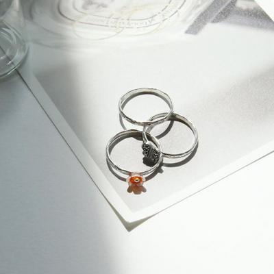 R0357 마카사이트 나비 꽃자개 3줄 실버반지