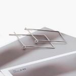 제이로렌 M01571 큐빅 셋팅 마름모 관통형 실버귀걸이