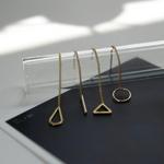 제이로렌 M01625 삼각형 원형 도형 실버체인 롱귀걸이