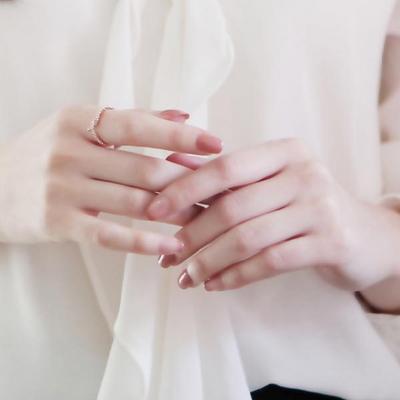 제이로렌 R0374 꽈배기 매듭 로즈골드 큐빅 반지