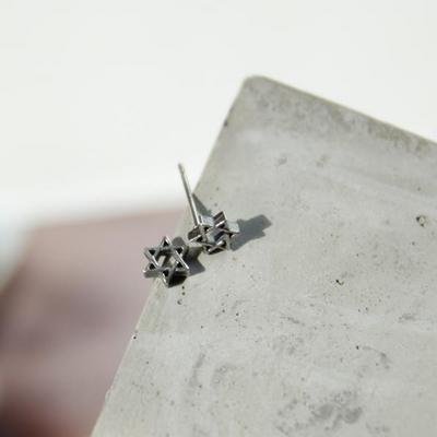 제이로렌 M01660 보완관 기본 별 엔틱 실버 귀걸이