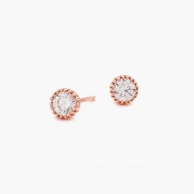 제이로렌 M01757 미니멀한 큐빅 로즈골드 실버 귀걸이