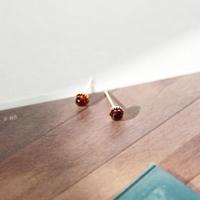 제이로렌 M01802 1월탄생석 컷팅가넷 로즈골드 귀걸이