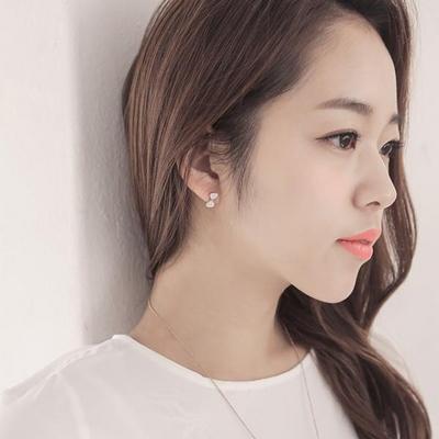 제이로렌 M01969 핑크 블랙 리본모양 자개 귀걸이