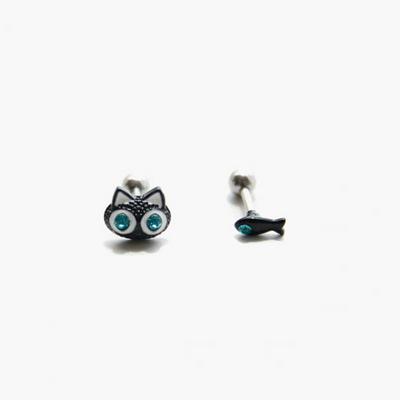 제이로렌 M02057 고양이 물고기 써지컬스틸 피어싱