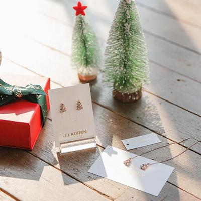 제이로렌 7M01796 크리스마스트리 로즈골드 롱귀걸이