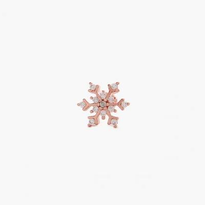 제이로렌 M02290 눈결정 디테일 로즈골드 눈꽃피어싱