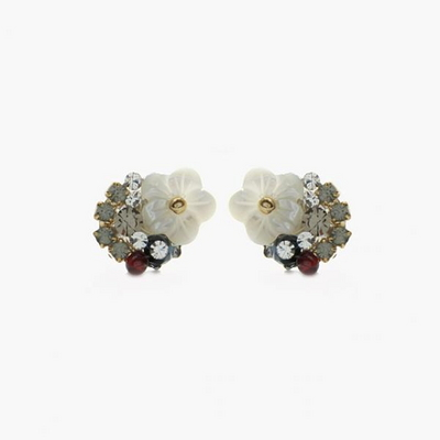 제이로렌 M02303 가넷 자개꽃 핸드메이드 귀걸이