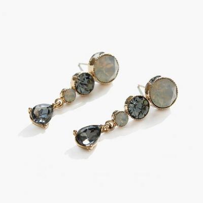 제이로렌 M02409 언드레스 투톤 크리스탈 귀걸이