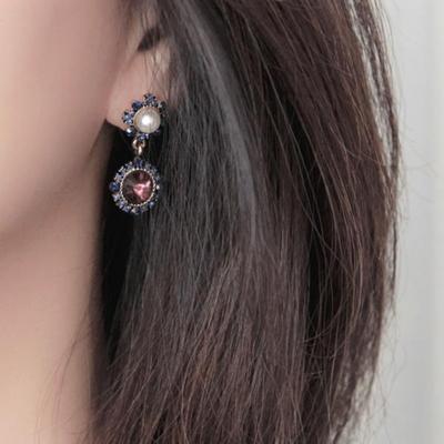 제이로렌 M02751 딥퍼플 엔틱 드롭 크리스탈 귀걸이