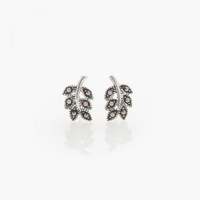 제이로렌 8M01333 마카사이트 나뭇잎 실버 귀걸이