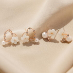 제이로렌 99M02558 봄날 로즈골드 하트 자개꽃 귀걸이