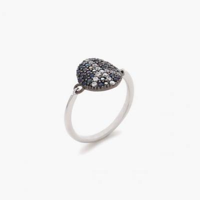 제이로렌 9R0368 피스펜던트 블랙화이트 큐빅 반지