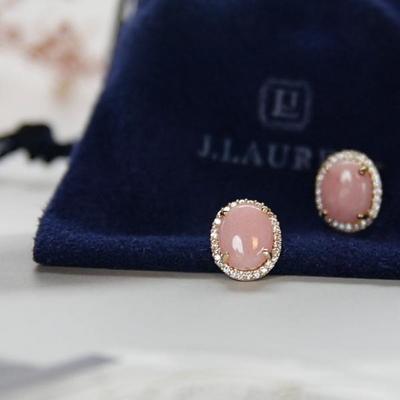 제이로렌 9M01081 핑크오팔 라운드 큐빅 귀걸이