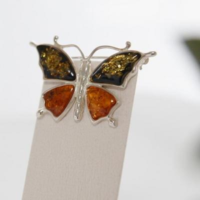 바이데이지 92Bh0183 천연 호박원석 나비 실버브로치