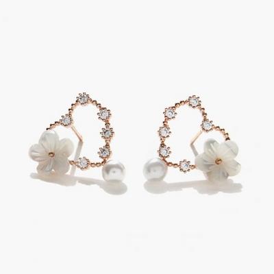 제이로렌 92M02558 봄날 로즈골드 하트 자개꽃 귀걸이