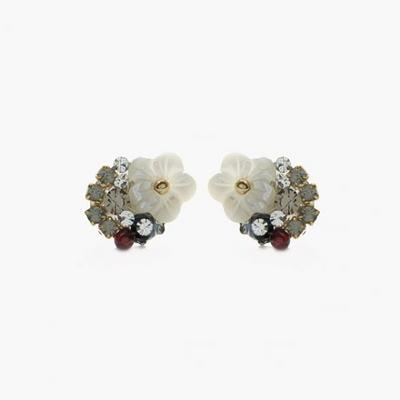 제이로렌 92M02303 가넷 자개꽃 핸드메이드 귀걸이