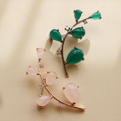 바이데이지 9Bh0203 비취 장미석 원석 나뭇잎브로치