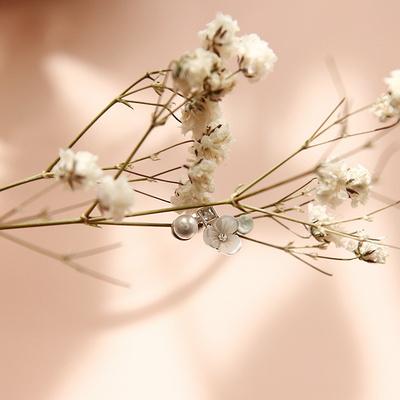 제이로렌 P0343 영롱 자개꽃 진주 써지컬스틸 피어싱