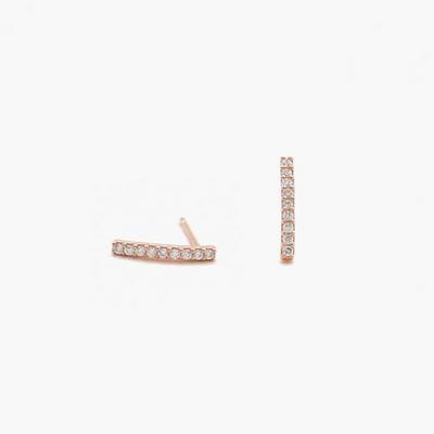 제이로렌 9M01730 라인 큐빅바 로즈골드 실버 귀걸이