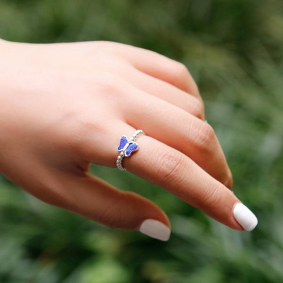 제이로렌 R0563 칠보 블루나비 실버볼 반지