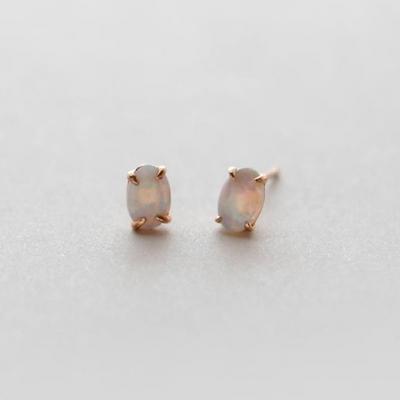 제이로렌 9M01945 10월탄생석 오팔 타원 실버 귀걸이