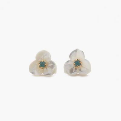 제이로렌 92M01994 민트 스와로브스키 자개꽃 귀걸이