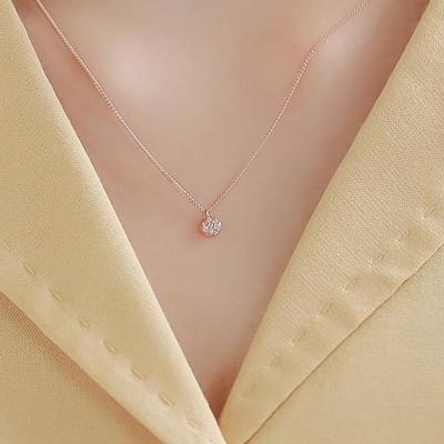 제이로렌 G0182 14K 핑크골드 청다이아 목걸이