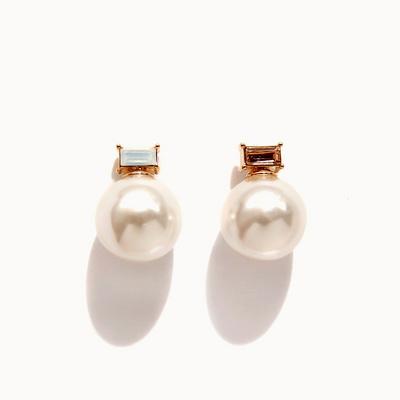 제이로렌 0M01310-1 화이트 피치 큐빅 진주 귀걸이