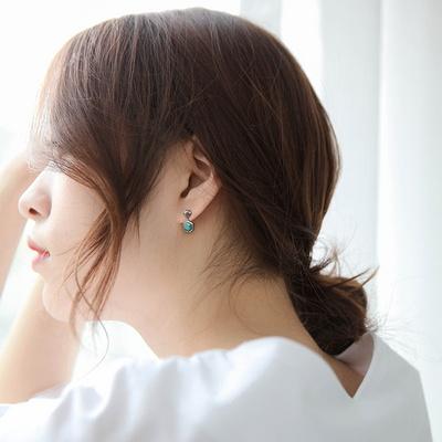제이로렌 M03322 5월탄생석 실버 공작석 귀걸이