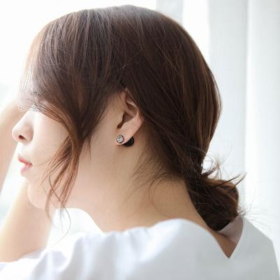 제이로렌 SM042 블랙 투웨이 큐빅 진주 귀걸이