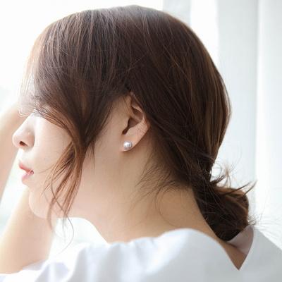 제이로렌 M03387 실버 그레이 담수진주 귀걸이