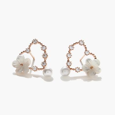 제이로렌 03M02558 봄날 로즈골드 하트 자개꽃 귀걸이