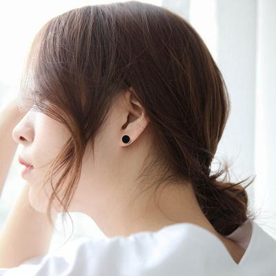 제이로렌 M03336 로즈골드 자개 오닉스 귀걸이